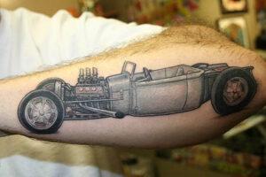 retro car tattoo idea