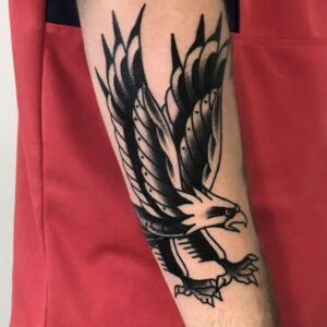 black work eagle tattoo idea