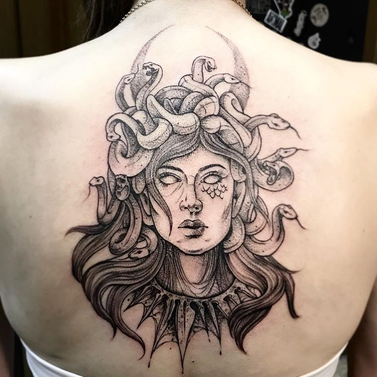 Gorgon Back Tattoo