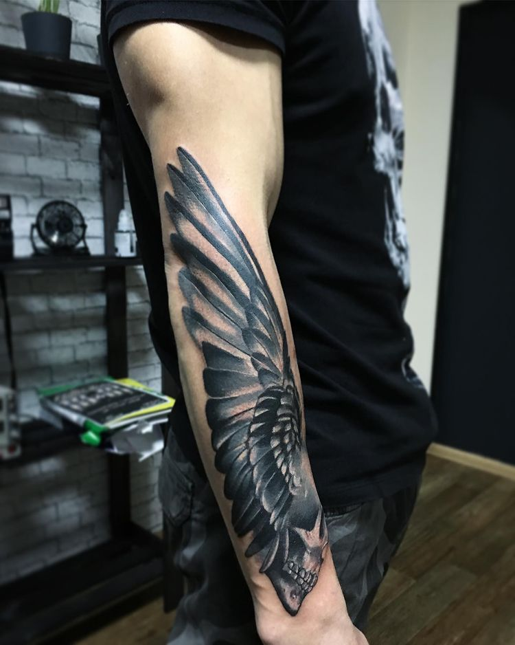 angel wing skull tattoo forearm