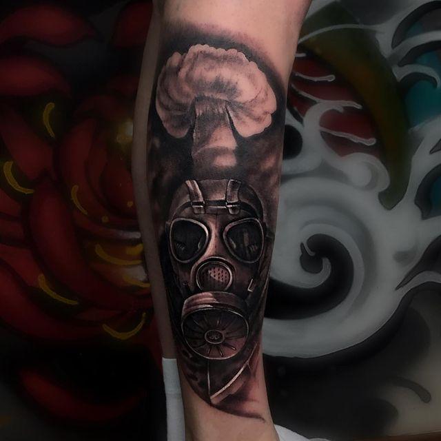 gas mask forearm tattoo