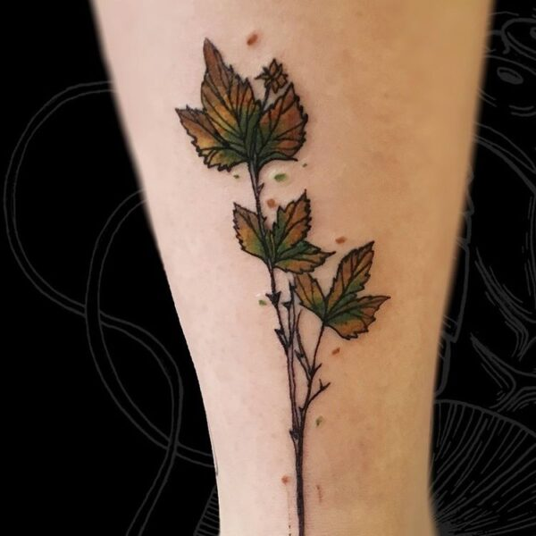 leaves leg tattoo