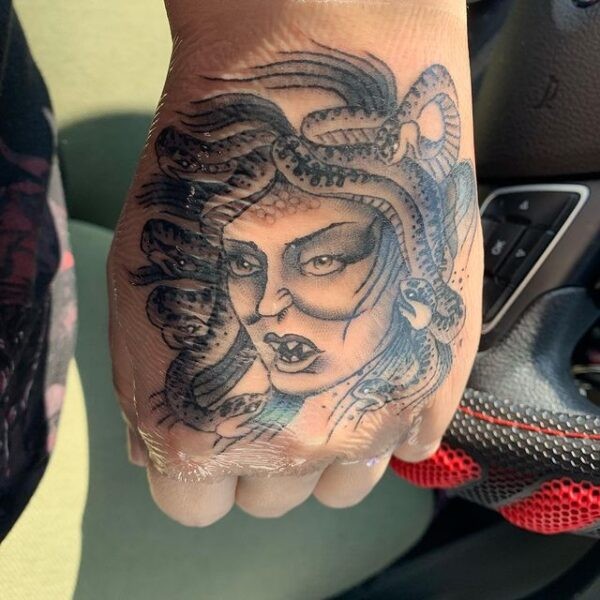 medusa hand tattoo