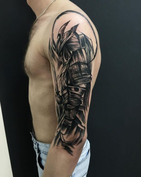 samurai shoulder tattoo